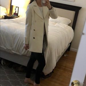 Ivory/ cream H&M pea polyester/ wool coat